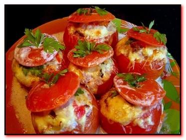 помидоры фаршированные с рисом и сыром
