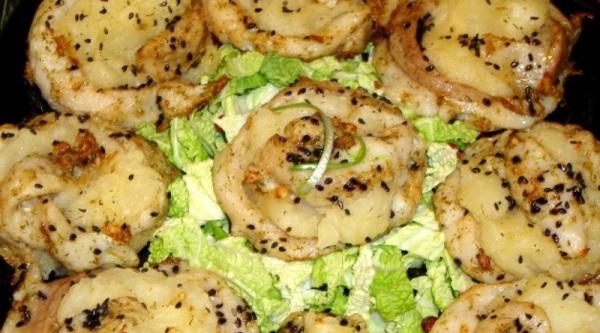 рыбные розочки с картофелем
