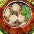 Пельмени в горшочке с грибами и сметаной