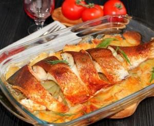 рыба с картофелем в духовке