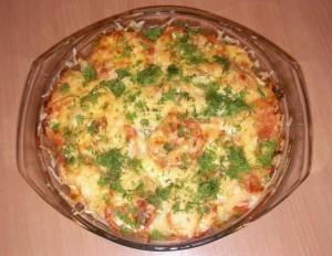 рецепт запеканка с колбасой и баклажанами